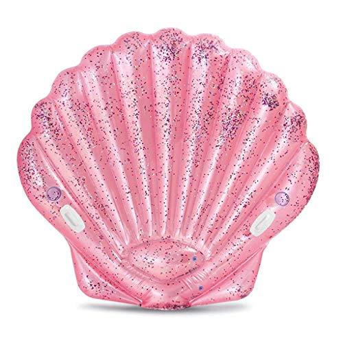 Licht Schwimmbad schwimmende Bett schwimmendes Bett auf dem Wasser, kreative Paillettenschale schwimmende Reihe, Kinder Schwimmen aufblasbare Bett rosa Luftbetten & Schlauchbett (Farbe: Rosa, Größe: 1