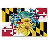 Bonsai Tree Maryland Flag 3x5 Ft - Vivid Color, Double Stitched - Large Double Sided Polyester Maryland State Flags With Brass Grommets for Indoor Outdoor Decoration