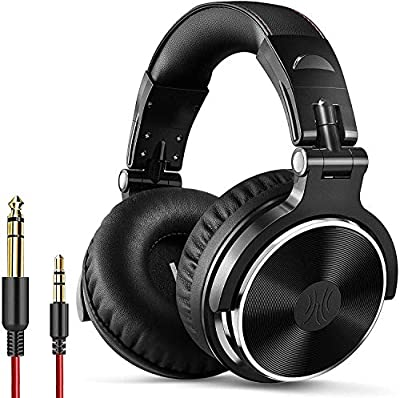 OneOdio Over Ear Headphone Studio Wired Bass Headsets with 50mm Driver, Foldable Lightweight Headphones with Shareport and Mic for DJ Recording Monitoring Mixing Podcast Guitar PC TV (Black)