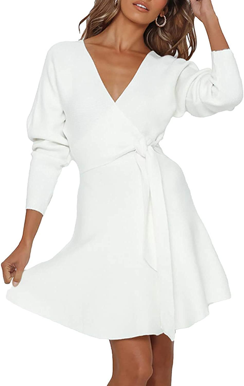 Meenew Women's Wrap V Neck Sweater Dress Tie Waist Long Sleeve Mini Swing Dress