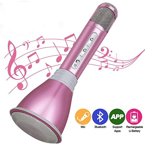 HooYL Kids Microphone Cordless Karaoke Micorphone for Kids Bluetooth Wireless Microphone Birthday Gift Toy Microphone for Girl Teen Home Party KTV Singing Playing Microphones