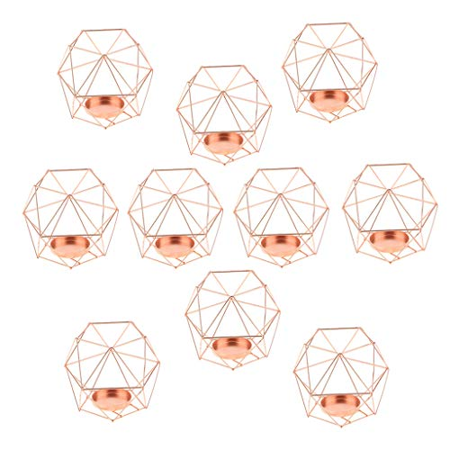 FLAMEER 10pcs 3D Geometrie Hochzeit Kerzenhalter Teelichthalter Teelicht Kerzen Halter, Rose Gold
