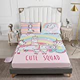 Roscloud Girls Unicorn Bed Sheets Sets Full Size - 4PC Memaind Rainbow Kids Fitted Sheet Flat Sheet (Fitted Sheet1 Flat Sheet1 Pillowcases2)