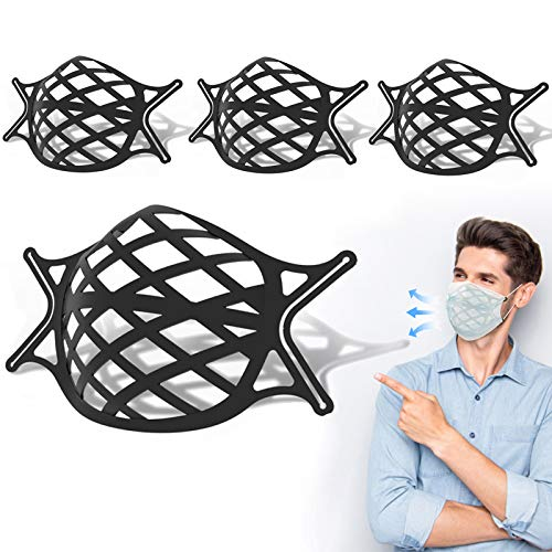 4 Pack Face Mask Bracket Large 3D Silicone Mask Bracket with Ear Loops Internal Support Frame for Cloth Mask Adult Cool Lipstick Protection, Black