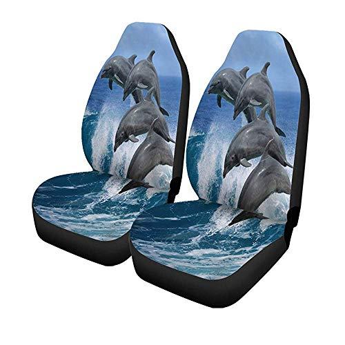 Beth-D 2Er-Set Autositzbezüge Vier Wunderschöne Delfine, Die Über Wellen Springen Hawaii Pacific Universal Auto Front Seats Protector 14-17IN