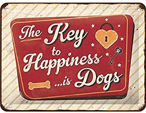 Nostalgic-Art Retro Blechschild PfotenSchild – Key to Happiness – Geschenk-Idee für Hunde-Besitzer, aus Metall, Vintage-Dekoration, 15 x 20 cm