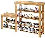 Organizador de zapatos Almacenamiento de zapatos de 4 niveles Banco de almacenamiento de zapatos Bambú Bambú High-Low Zapato de zapatos Organizador de zapatos para Clóset Soporte de guardarropa Sala d