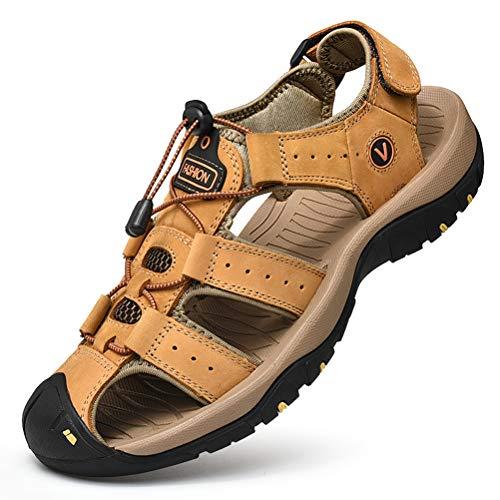 Unitysow Sandalias Hombre Verano Los Zapatillas de Senderismo Transpirable Peso Ligero Cuero Camper Deportivas Sandalias Al Aire Libre Pescador Playa Zapatos,Amarillo,46