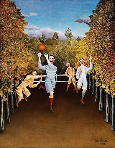 Les joueurs de football par Henri Julien Rousseau. 100% peint à la main. Reproduction de haute qualité. Livraison gratuite (non encadrée et non étirée). Taille de la peinture: 71 x 36 cm.