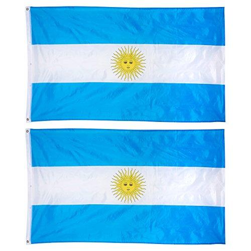 2-delige Argentijnse vlaggen - outdoor 3x5 voeten Argentijnse vlaggen, Argentijnse nationale vlaggenbanners, dubbel gestikte polyester vlaggen met messing grommets, decoraties voor feesten en festivals, 3 x 5 voeten