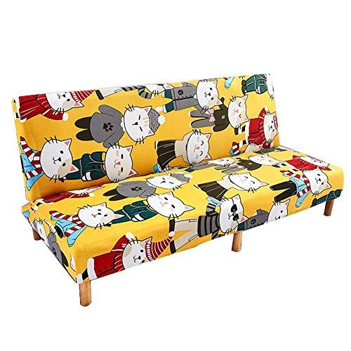 Funda de sofá cama elástica sin brazos, funda de sofá sin brazos impresa clásica moderna simple, colchón protector elástico plegable