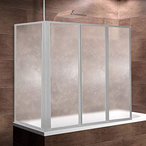 Schulte D1603-B 01 01 Duschwand Well mit Seitenwand, 129 x 140 x 75 cm, 3-teilig faltbar, Kunstglas Tropfen-Dekor, alunatur, Duschabtrennung mit Handtuchhalter