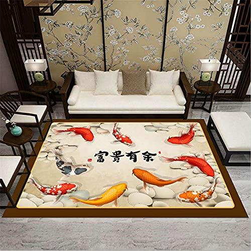 CCTYJ Dorado Pescado Rojo Tridimensional Oriental Patrón étnico Hotel Calidad Durable y de fácil Cuidado Decorativo alfombra-140x200cm Alfombra económica con diseño Moderno para el salón