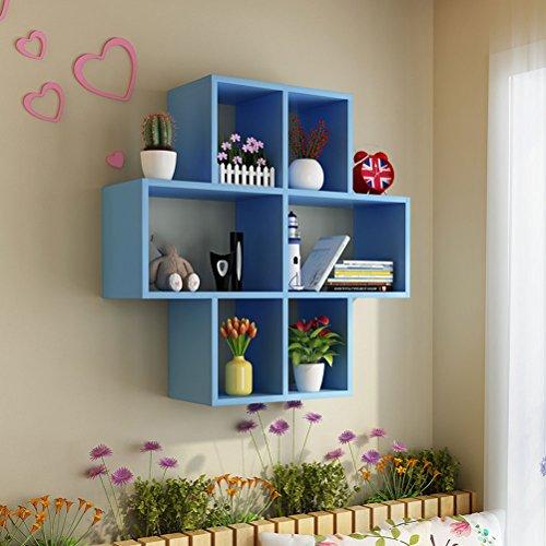 WLH- Muur Shelf Rack Wandversiering Lattice Plaid Moderne Simple Muur Boekenkast Creative Wijnrek wandkleden (Color : Blue, Size : 80x80x15cm)
