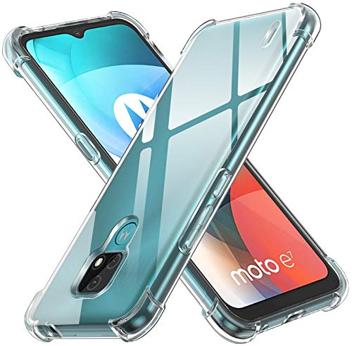 ivoler Funda para Motorola Moto E7, Carcasa Protectora Antigolpes Transparente con Cojín Esquina Parachoques, Flexible Suave TPU Silicona Caso Delgada Anti-Choques Case Cover