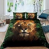 Funda de edredón de León marrón, tamaño King, diseño de plantas tropicales, para niños, adultos, hombres, niños, decoración del dormitorio, juego de cama con 2 fundas de almohada
