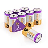 Size/Type D Batteries Pack of 8 LR20 batteries 1.5V by GP Batteries Type