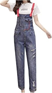 XINHEO Women Pockets Ripped Destroyed Relaxed Sling Denim Rompers Overalls