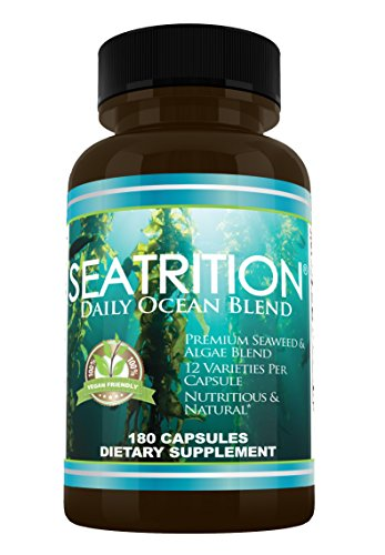 Daily Health, Seatrition Immune Thyroid Support Pure 12 Whole Seaweed Plants Vegan Friendly Natural Multi Vitamin Sea Minerals Wholefood Nutrition Supplement 180 Vegetable Capsules 2 Months Supply