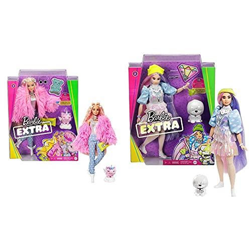 Barbie Muñeca Extra 3 con Un Mullido Abrigo De Peluche Rosa, Una Mascota Mezcla De Unicornio Y Cerdito + Extra Muñeca con Pelo Rosado Y Violeta Incluye Mascota Y Accesorios (Mattel Gvr05)