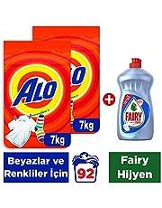 Alo Beyazlar ve Renkliler için Toz Çamaşır Deterjanı, 2x7 kg (14 kg) + Fairy Hijyen Sıvı Bulaşık Deterjanı, 500ml