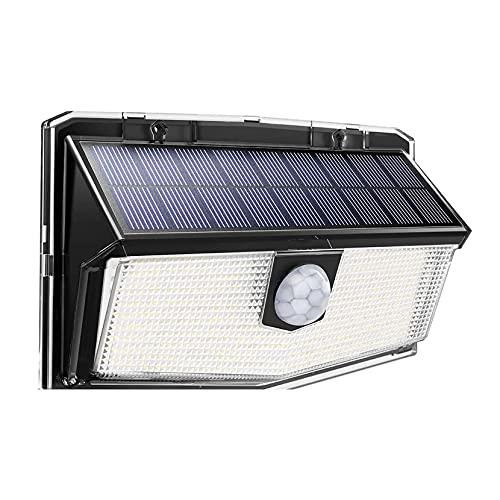 300 LEDs Luz Solar Exterior Focos Led Exterior Solares Apliques de Pared con Sensor de Movimiento Iluminacion Lámpara Solar Exterior Jardin Luz,3 modos [2500mah] IP67 a prueba de agua