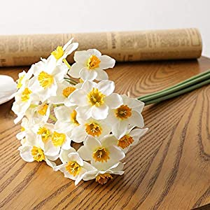 Artificial and Dried Flower 6pcs/Lot European-Style Simulation Narcissus Flower Living Room Window Decoration Fake Flowers Wedding Scene Decor Daffodil 4 – ( Color: White )