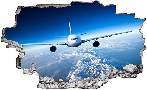 DesFoli Flugzeug Airline Erde Earth3D Look Wandtattoo 70 x 115 cm Wanddurchbruch Wandbild Sticker Aufkleber C301