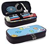Pencil Case Big Capacity Storage Holder Desk Pen Pencil Marker Stationery Organizer Pencil Pouch with Zipper,Flock Of Colorful Funny Cartoon Birds Perching On Cables Kids Nursery Print