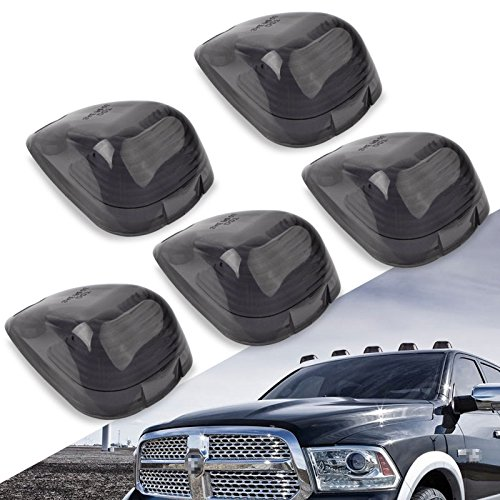 Cab Marker Lights Cover,YITAMOTOR Smoke Roof Clearance Lights Cover Lens Aftermarket Replacement Compatible for 1999-2006 Ford F150 F250 F350 F450 F550, Super Duty