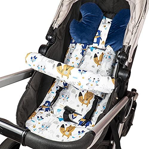 Cojín asiento cojín cochecito - cojín buggy cojín asiento para asiento infantil transpirable conjunto universal con protección cinturón reposacabezas 75x35 cm (Azul - Animales)