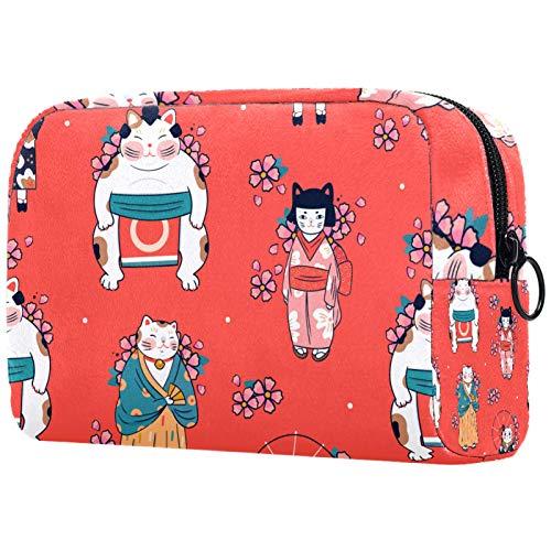 Bolsa de Lavar Bolso de Tocador Hombre Neceseres para Maquillaje Paño de Oxford Bolsa de Cosméticos Durable Bolsa de Lavado Viaje Estilo japones 18.5x7.5x13cm