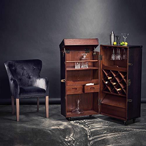 BUTLERS Hemingway Barschrank – Antike Kofferbar mit Weinregal - 4