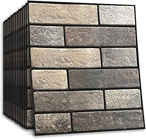 NaoSIn-Ni 11.8'x11.8 Papel Pintado de ladrillo 3D Peel Desmontable y Palo PE Foam Brick Faux TextureWall Pegatina para la Sala de Estar en casa