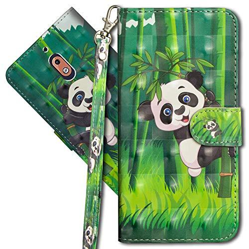 MRSTER Nokia 2.1 Handytasche, Leder Schutzhülle Brieftasche Hülle Flip Hülle 3D Muster Cover mit Kartenfach Magnet Tasche Handyhüllen für Nokia 2.1 2018. YX 3D - Panda Bamboo