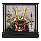 京寿 五月人形 兜飾り ケース入り 木製弓太刀付 間口43×奥行30×高さ41cm 10号中鍬角兜ケース飾り YN5303GKC
