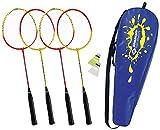 Schildkröt Juego de Badminton para 4 Jugadores, 4 Raquetas, 2 Volantes, en un Estuche de Transporte, 970904