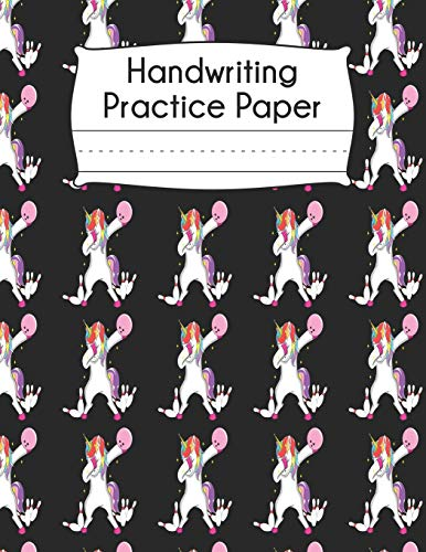 Handwriting Practice Paper: Dabbing Unicorn Bowling Ball Pink Bowler Pattern Blank Dotted Writing Sheets Notebook For Preschool Kindergarten 1st 2nd & 3rd Grade 120 Pages