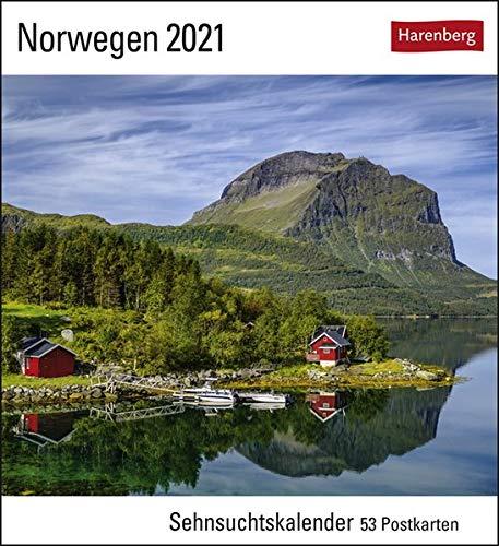 Norwegen Sehnsuchtskalender 2021 - Postkartenkalender mit Wochenkalendarium - 53 perforierte Postkarten zum Heraustrennen - zum Aufstellen oder Aufhängen - Format 16 x 17,5 cm