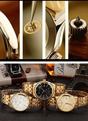 Fanmis Men's Luxury Analog Quartz Black Dial Gold Watch Business Stainless Steel Band Dress Wrist Watch Classic Calendar Date Window 3ATM Water Resistant