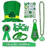 SPECOOL St Patrick's Day Accessory Set, Irish Party Favor, Shamrock Hat, Necklaces, Rubber Wristbands Bracelets, Stickers, Necktie, Badge, Glasses, Sash for Party, Parade or Celebration