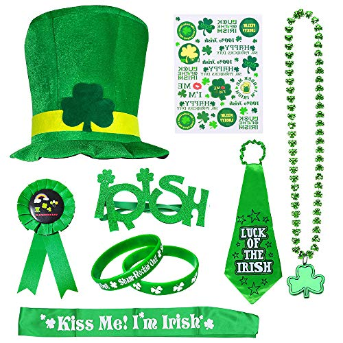 St Patrick's Day Accessory Set, SPECOOL Irish Party Favor, Shamrock Hat, Necklaces, Rubber Wristbands Bracelets, Stickers, Necktie, Badge, Glasses, Sash for Party, Parade or Celebration