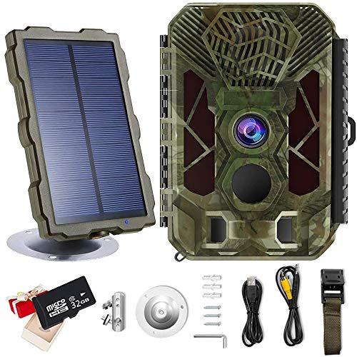 Cámara Caza 20MP 2.7K Trail Game Camera con 0.2s Velocidad Disparo Distancia de Disparo 98ft/30M IP66 Impermeable Pantalla LCD de 2,4' Cámara de Invisible con Panel Solar y Tarjeta SD de 32G