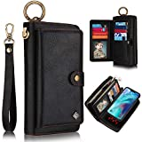 iPhone 11 Wallet Case, XRPow 2-in-1 Multi-Functional Magnetic Detachable Wallet Zipper Purse Clutch Slim Shock Cover Flip Credit Card Protective Case [Wrist Strap] for iPhone 11 6.1Inch - Black