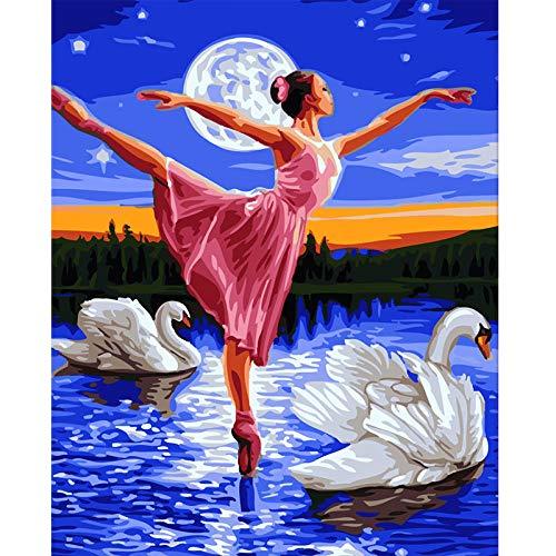 Bailarina de ballet Dibujo digital Kits de pintura para adultos Pintura para adultos El tiempo de bricolaje se puede personalizar 40x50cm Sin marco