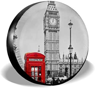 Chawzie Red Telephone Booth and Big Ben Spare Tire Covers for Trailers Rear Tire Cover Tire Cover Waterproof Uv Sun 14 - 17 Fit for Jeep Trailer Rv SUV and Many Vehicle
