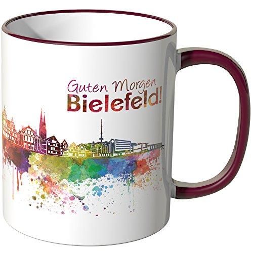 WANDKINGS® Tasse, Schriftzug Guten Morgen Bielefeld! mit Skyline - Bordeaux