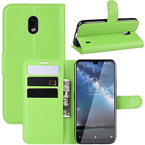 HualuBro Nokia 2.2 Hülle, Leder Brieftasche Etui LederHülle Tasche Schutzhülle HandyHülle Stand Handytasche Leather Wallet Flip Hülle Cover für Nokia 2.2 2019 (Grün)