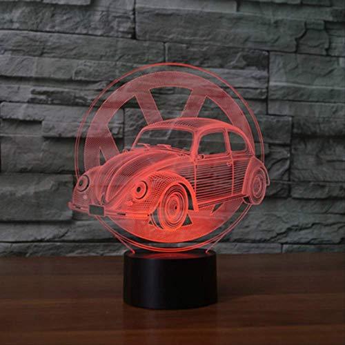 DFDLNL 7 Colores cambiantes Escarabajo Modelo de Coche 3D lámpara de Mesa led botón táctil USB vehículo Luces nocturnasRegalos niños Dormitorio decoración
