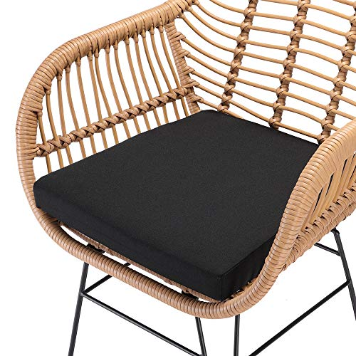 Casaria 3 TLG. Balkonset Beistelltisch 2 Lounge Sessel Indoor Outdoor Wetterfest Natur Poly Rattan-Look Sitzgruppe Garten Balkon Set - 4